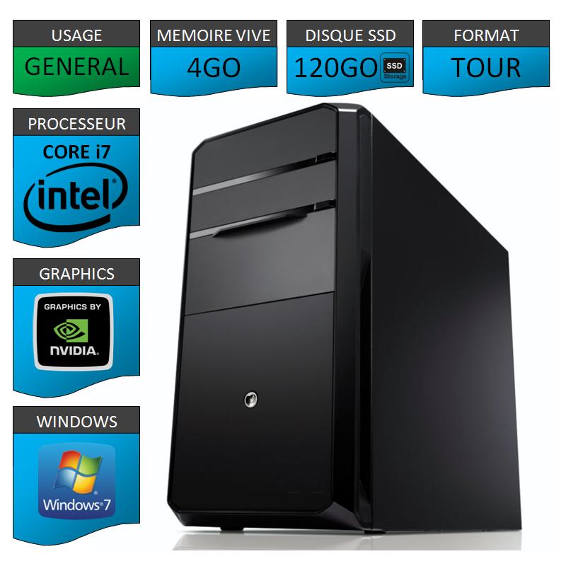PC NEUF Core i7 4Go 120Go SSD Geforce 1Go