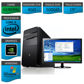 "PC ECS COREi5 4GO 500GO XP PRO GARANTIE 1 AN 19"""
