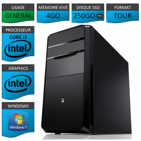 PC NEUF Core i3 4Go 250Go SSD