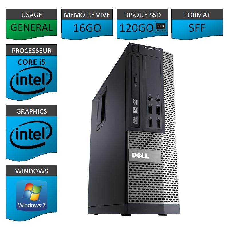 Dell 7010 SFF Core i5 16Go 120SSD Windows 7 Pro