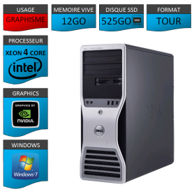 DELL PRECISION Xeon 4 Cores 12Go 525SSD Windows 7 Pro 64
