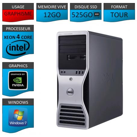 DELL PRECISION Xeon 4 Cores 12Go 525SSD Windows 7 Pro 64