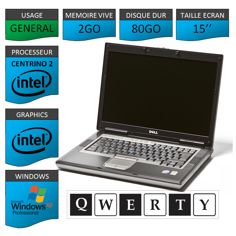Portable DELL D820 Port serie Clavier QWERTY