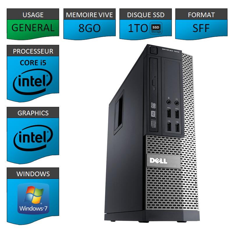 Dell 7010 Core i5 8Go 1000SSD Windows 7 Pro