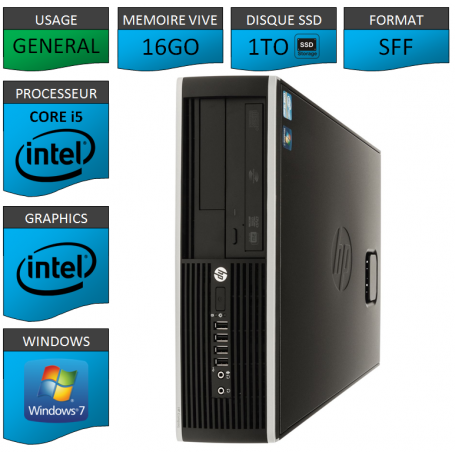 PC HP Core i5 16Go 1000Go SSD Windows 7 Pro