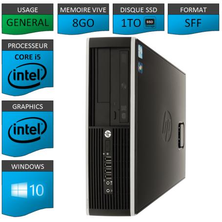 PC HP Core i5 8Go 1000Go SSD Windows 10 Pro