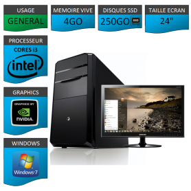 "PC NEUF Core i3 4Go 250Go SSD Geforce 1Go 24"" Windows 7 32 bits"