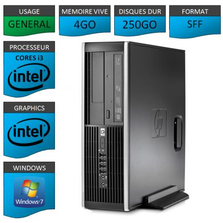 PC HP Pro 6300 SFF Core i3 4Go 250Go Windows 7 pro