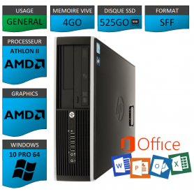HP AMD Athlon II 4Go 525SSD W10P OFFICE