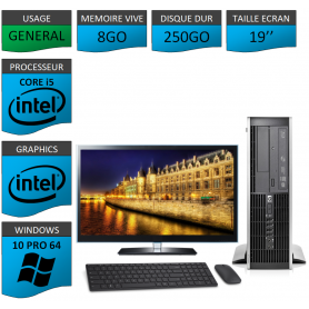 PC HP Core i5 8Go 250Go Windows 10 Pro Ecran 19 CSF