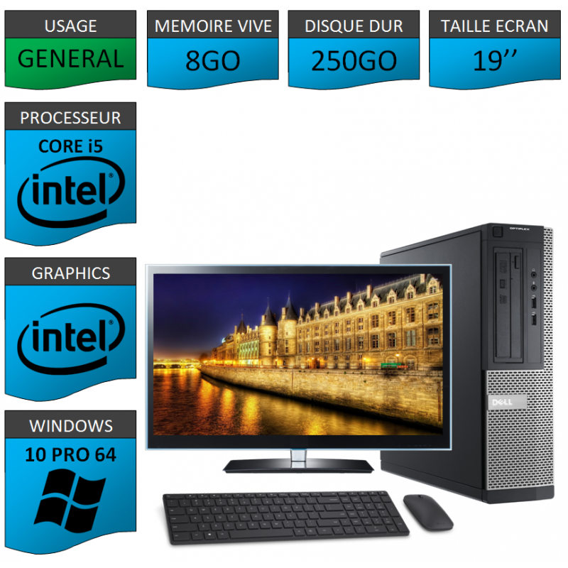 Dell Optiplex Core i5 8Go 250Go Windows 10 Pro 19''CSF