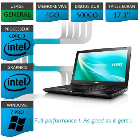"""MSI Intel Core i3 4Go 500Go 17.3"""" Windows 7 Pro 32"""