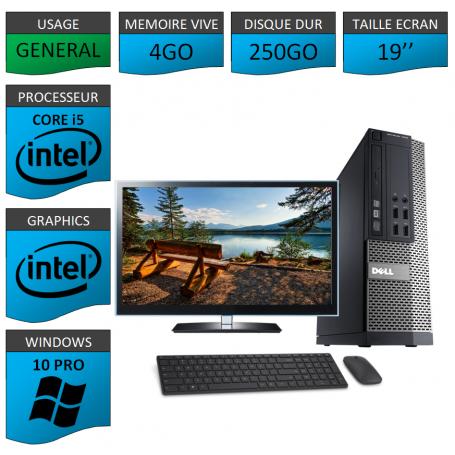PC Dell i5 4Go 250Go 19'' Windows 10 Pro 64