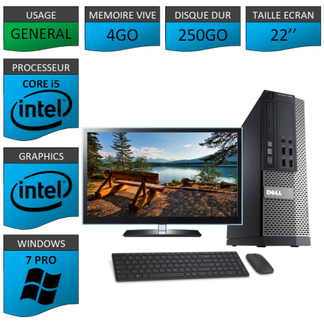 PC Dell i5 4Go 250Go 22'' Windows 7 Pro 64