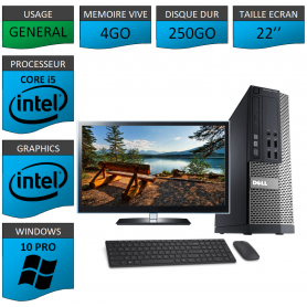 PC Dell i5 4Go 250Go 22'' Windows 10 Pro 64