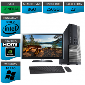 PC Dell i5 8Go 250Go 22'' HDMI Windows 10 Pro 64 Nvidia Geforce 1Go