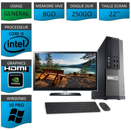 PC Dell i5 8Go 250Go 22'' HDMI Windows 10 Pro 64 Nvidia Geforce 1Go