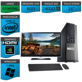 PC Dell i7 8Go SSD240 24''HDMI Windows 7 Pro 64 NVIDIA GEFORCE