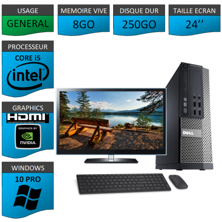 PC Dell i5 8Go 250Go 24'' HDMI Windows 10 Pro 64 Nvidia Geforce 1Go