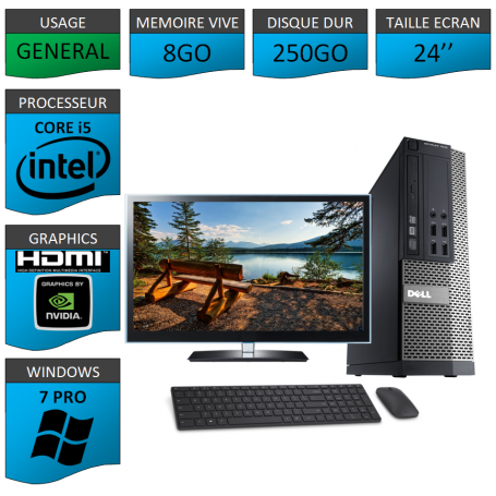 PC Dell i5 8Go 250Go 24'' Windows 7 Pro 64 NVIDIA GEFORCE