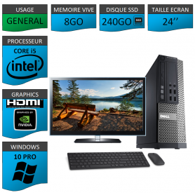 PC Dell i5 8Go SSD240 24''HDMI Windows 10 Pro 64 NVIDIA GEFORCE