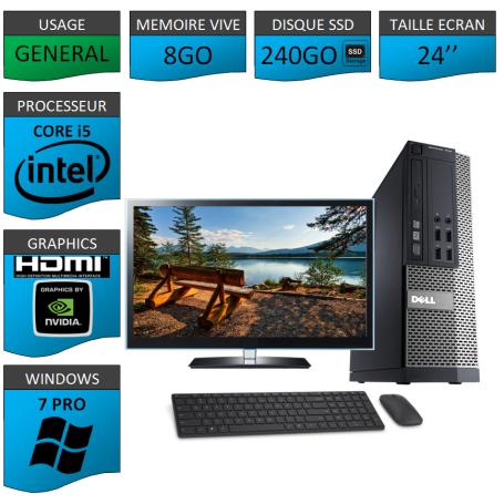 PC Dell i5 8Go SSD240 24''HDMI Windows 7 Pro 64 NVIDIA GEFORCE