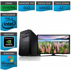 PC NEUF Windows XP Pro i3 4Go 500Go Geforce 1Go 22''