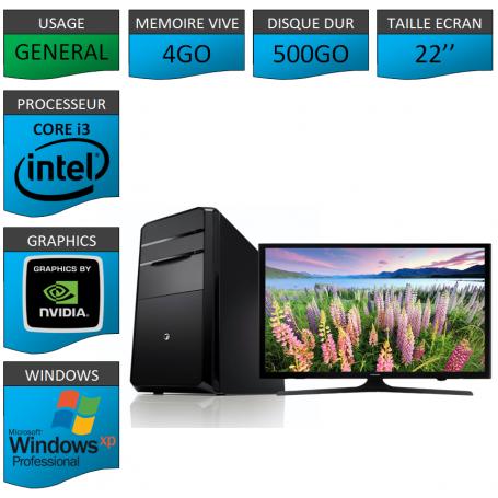 PC NEUF Windows XP Pro i3 4Go 500Go Geforce 2Go 22''