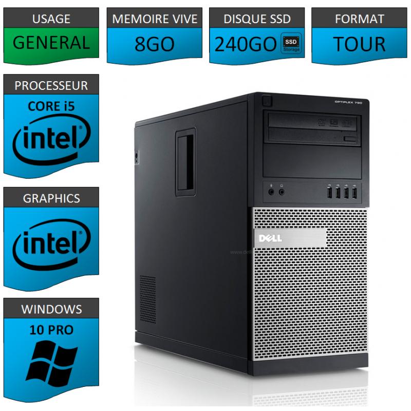 Dell Optiplex 990 TOUR 8Go SSD240 Windows 10