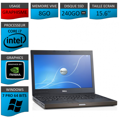 Dell Precision 8Go 240SSD Windows 7 Pro 64 bits