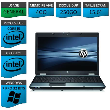 Portable HP I5 4Go 250Go Windows 7 Pro 32 Bits