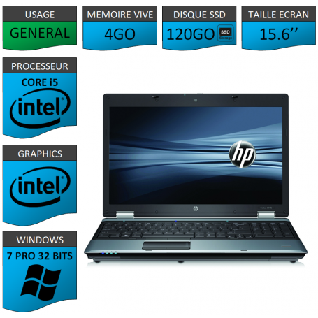 Portable HP I5 4Go 120SSD Windows 7 Pro 32 Bits