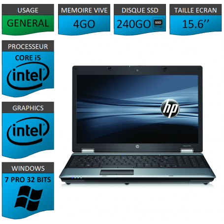 Portable HP I5 4Go 240SSD Windows 7 Pro 32 Bits