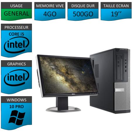 PC Dell i5 4Go 500Go 19'' Windows 10 Pro 64