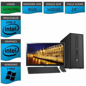 HP Prodesk 600 G1 8Go 500Go W7P 24''