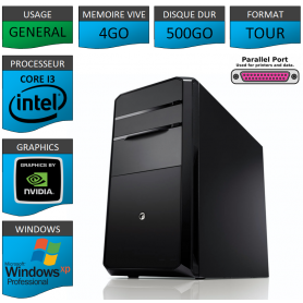 PC NEUF Windows XP Pro i3 4Go 500Go Geforce 1Go Port Parallèle
