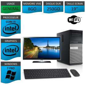 Dell Optiplex 790 Core i5 8go 250Go Windows 7 Pro WIFI 19''