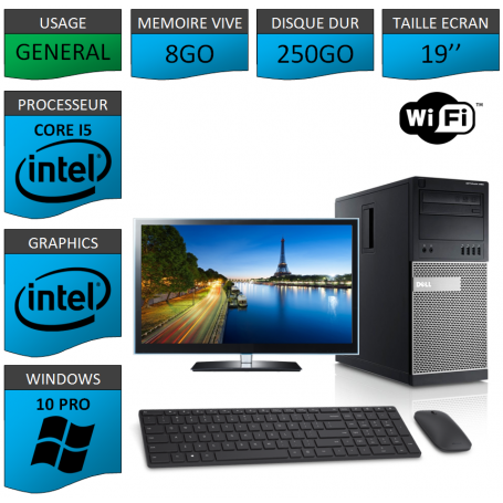 Dell Optiplex 790 Core i5 8go 250Go Windows 10 Pro WIFI 19''