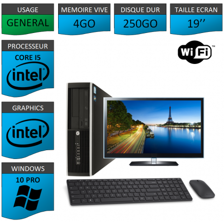 "PC HP Intel Core i5 windows 10 Pro 64 bits 19"" Kit Clavier Souris WIFI"