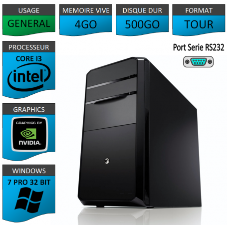 PC NEUF Windows 7 Pro 32 i3 4Go 500Go Geforce 1Go 2 Ports Serie