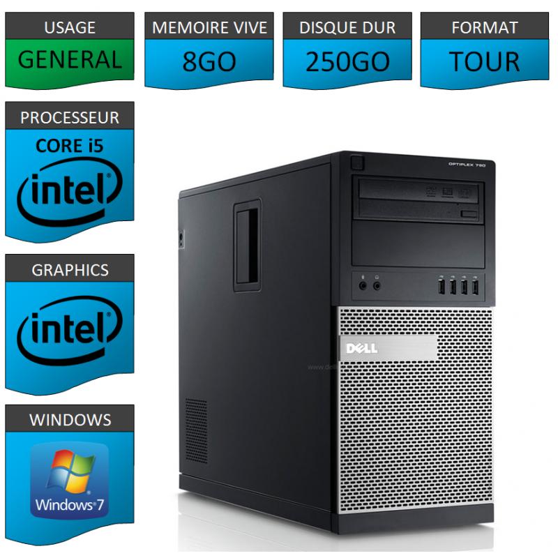 PC Dell Windows 7 Pro 32 bits 3 ports pci express + 1 port pci libres
