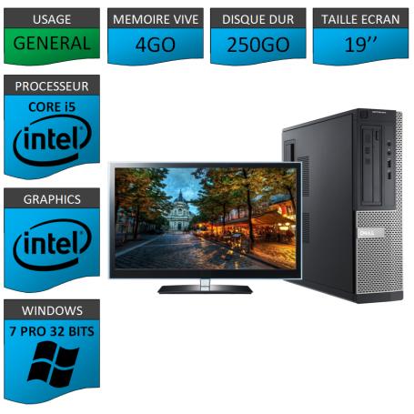 PC Dell Core i5 4Go 250Go 19'' Windows 7 Pro 32
