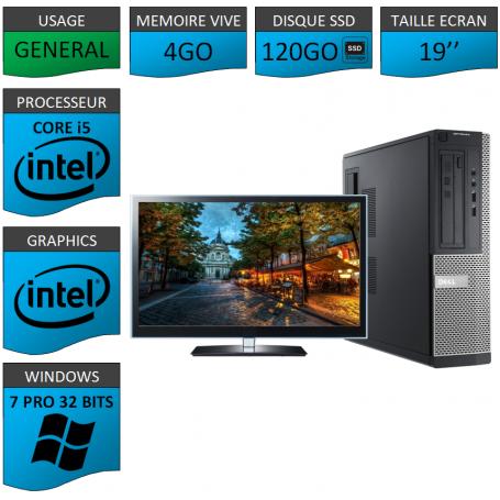 PC Dell Core i5 4Go 120SSD 19'' Windows 7 Pro 32