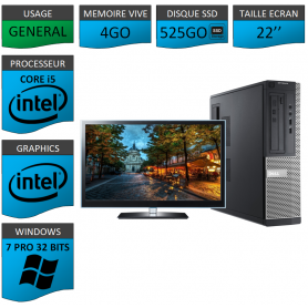 PC Dell Core i5 4Go 525SSD 22'' Windows 7 Pro 32