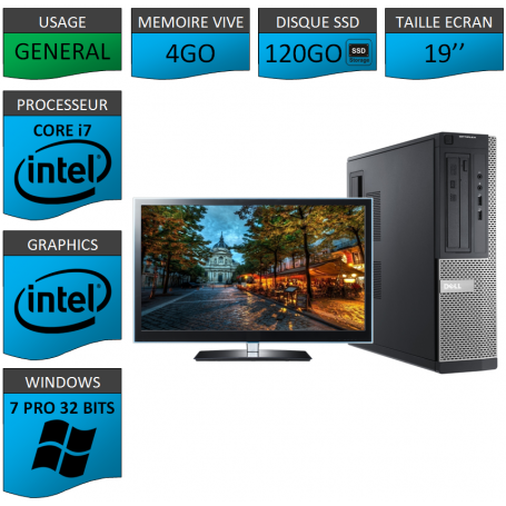PC Dell Core i7 4Go 120SSD 19'' Windows 7 Pro 32