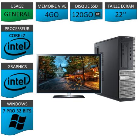 PC Dell Core i7 4Go SSD120 22'' Windows 7 Pro 32