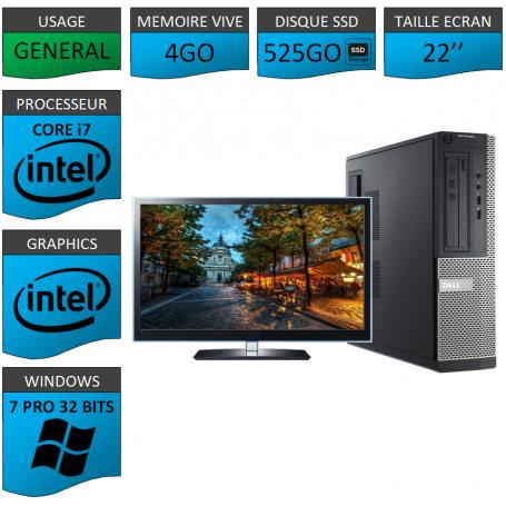PC Dell Core i7 4Go SSD525 22'' Windows 7 Pro 32