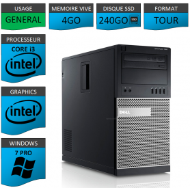 Dell Optiplex 790 Core i3 4go 240SSD Windows 7 Pro