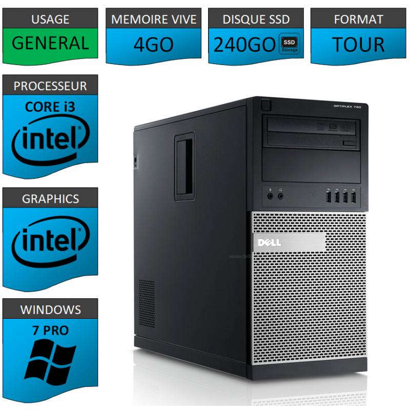Dell Optiplex 790 Core i3 4go 240SSD Windows 7 Pro