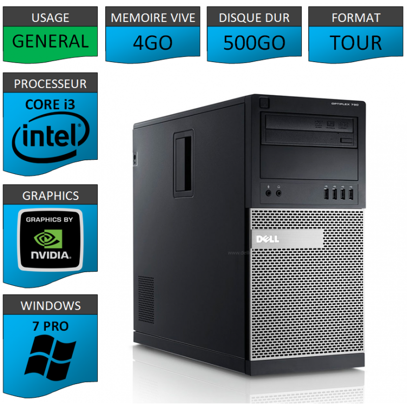 Dell Optiplex 790 Core i3 4go 500Go Windows 7 Pro GEFORCE